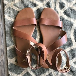 Franco Sarto Gustar Saddle Brown Leather Sandal